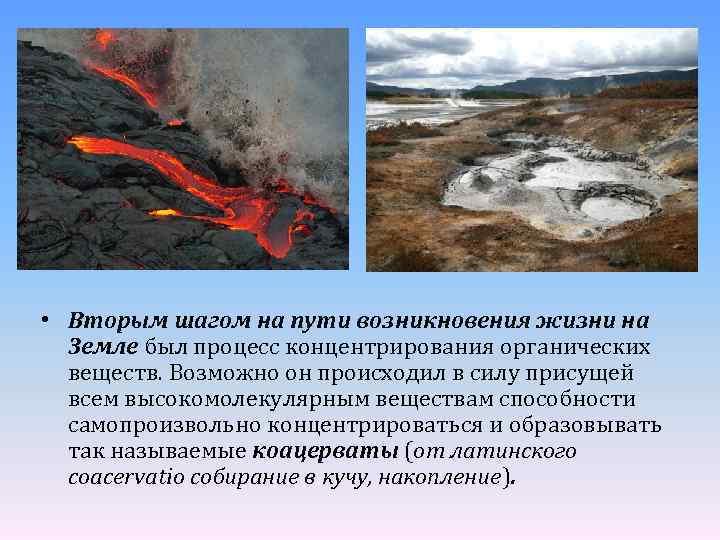 • Вторым шагом на пути возникновения жизни на Земле был процесс концентрирования органических