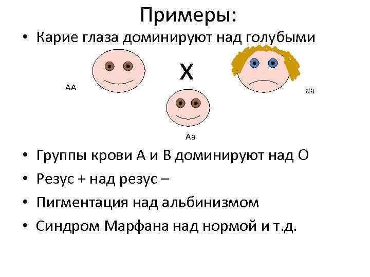 Примеры: • Карие глаза доминируют над голубыми АА х аа Аа • • Группы