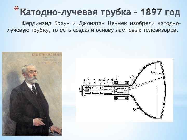 * Фердинанд Браун и Джонатан Ценнек изобрели катоднолучевую трубку, то есть создали основу ламповых