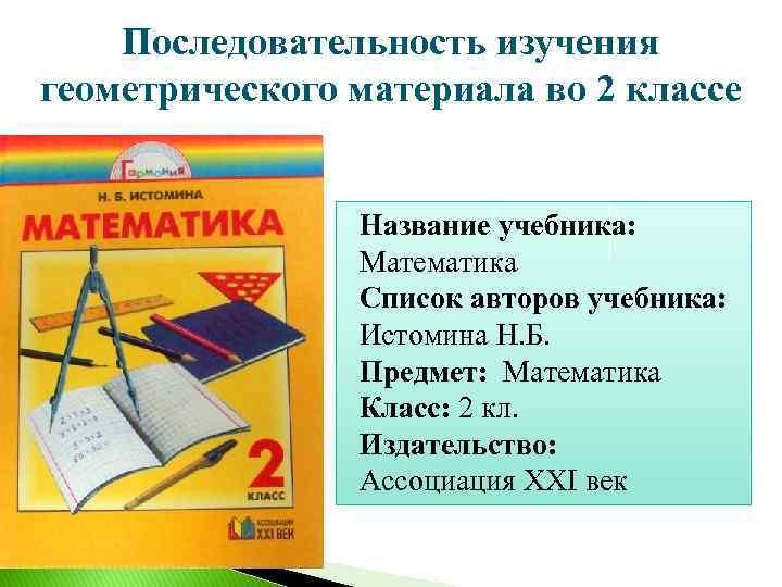 Последовательность изучения геометрического материала во 2 классе Название учебника: Математика Список авторов учебника: Истомина