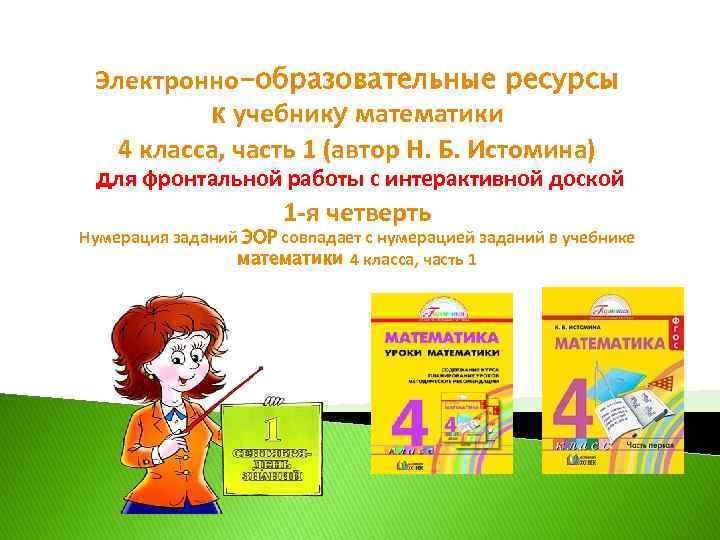 Электронно-образовательные ресурсы к учебнику математики 4 класса, часть 1 (автор Н. Б. Истомина) для