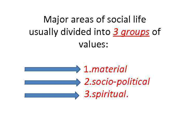 Major areas of social life usually divided into 3 groups of values: 1. material