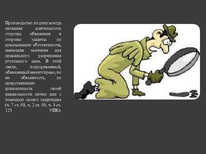 Производство по делу всегда активная деятельность стороны обвинения и стороны защиты по доказыванию обстоятельств,
