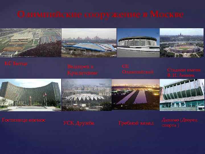 Олимпийские сооружение в Москве КС Битца Гостиница космос Велотрек в Крылатском УСК Дружба СК