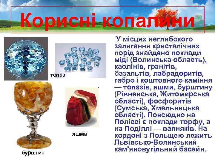 Корисні копалини топаз яшма бурштин У місцях неглибокого залягання кристалічних порід знайдено поклади міді