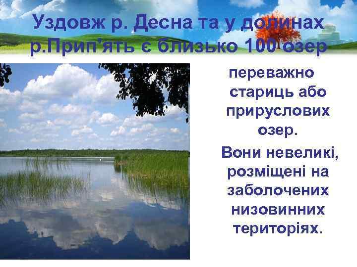 Уздовж р. Десна та у долинах р. Прип'ять є близько 100 озер переважно стариць