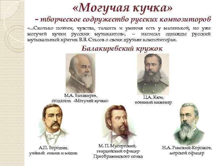 «Могучая кучка» – творческое содружество русских композиторов «. . . Сколько поэзии, чувства,