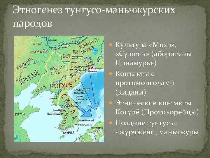 Этногенез тунгусо-маньчжурских народов Культура «Мохэ» , «Сушень» (аборигены Приамурья) Контакты с протомонголами (кидани) Этнические