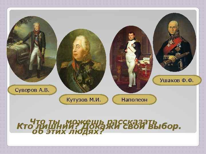 Ушаков Ф. Ф. Суворов А. В. Кутузов М. И. Наполеон Что ты можешь рассказать