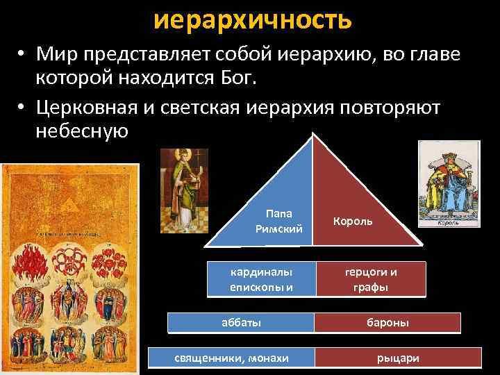 иерархичность • Мир представляет собой иерархию, во главе которой находится Бог. • Церковная и