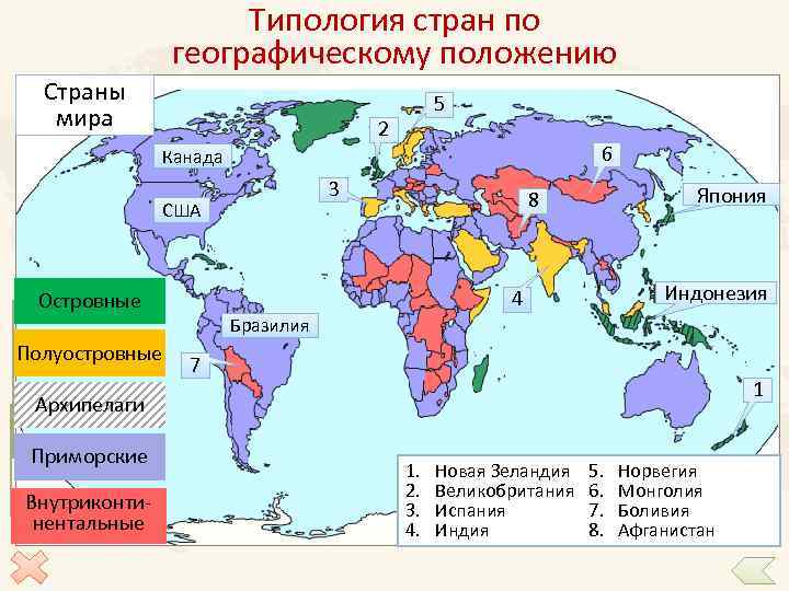 Типология стран по географическому положению Страны мира 5 2 6 Канада 3 США Индонезия
