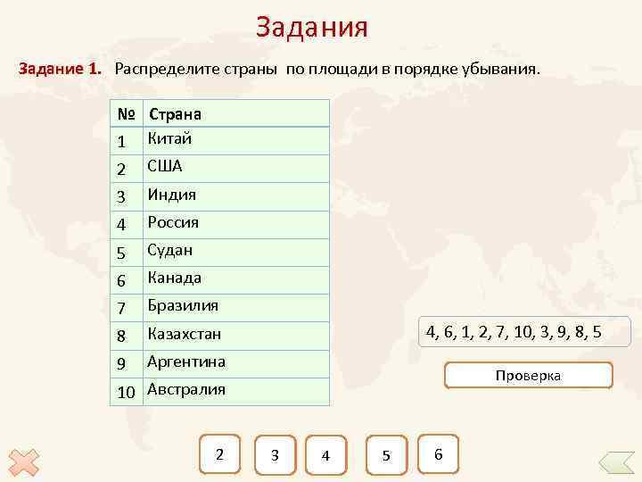Задания Задание 1. Распределите страны по площади в порядке убывания. № Страна 1 Китай
