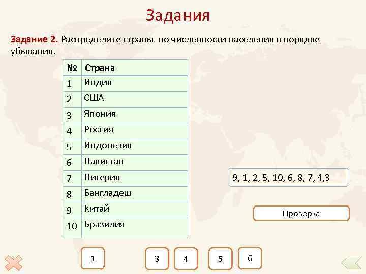 Задания Задание 2. Распределите страны по численности населения в порядке убывания. № Страна 1