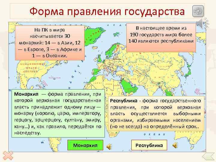 Форма правления государства На ПК в мира насчитывается 30 монархий: 14 — в Азии,
