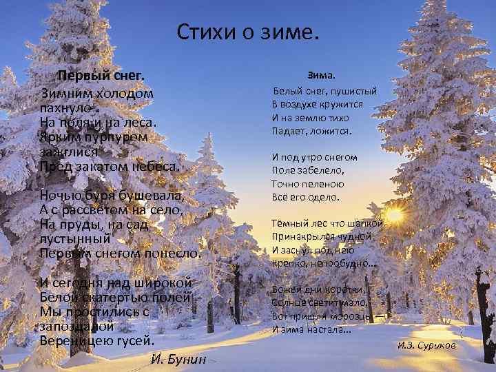 Стихи о зиме. Первый снег. Зимним холодом пахнуло На поля и на леса. Ярким