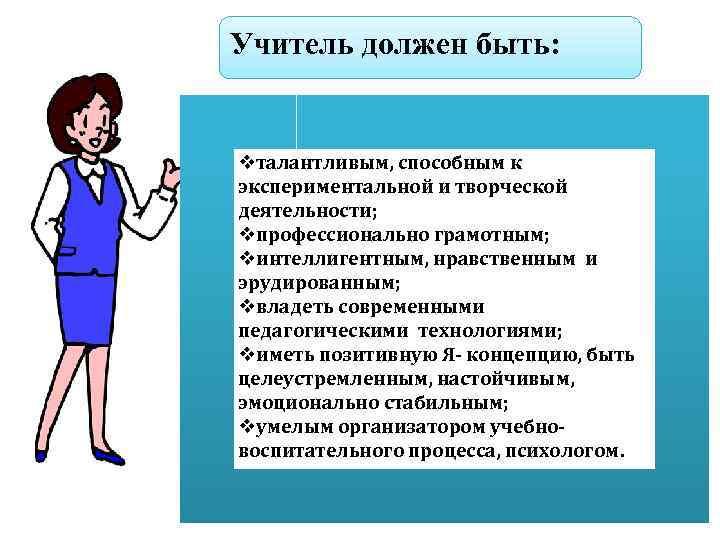 Учитель должен быть: vталантливым, способным к экспериментальной и творческой деятельности; vпрофессионально грамотным; vинтеллигентным, нравственным