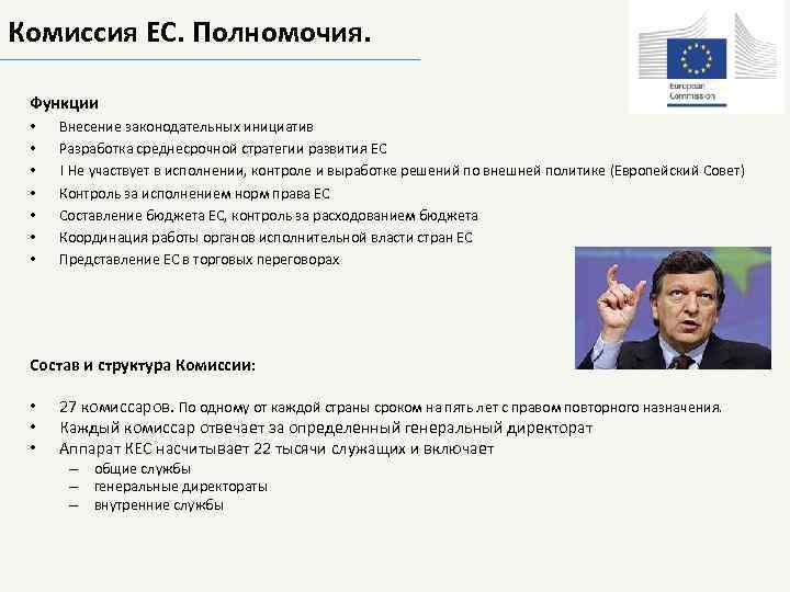 Комиссия ЕС. Полномочия. Функции • • Внесение законодательных инициатив Разработка среднесрочной стратегии развития ЕС