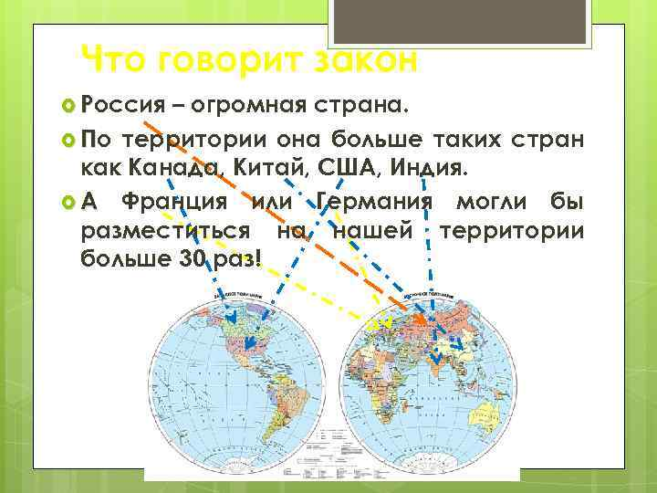 Что говорит закон Россия – огромная страна. По территории она больше таких стран как