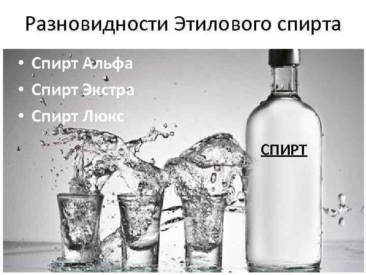 Разновидности Этилового спирта • Спирт Альфа • Спирт Экстра • Спирт Люкс СПИРТ