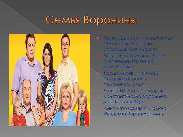 Семья Воронины v v v Георгий Дронов – Константин Николаевич Воронин, спортивный журналист Екатерина