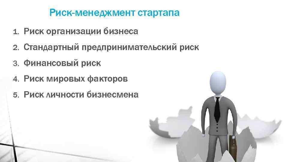 Риск-менеджмент стартапа 1. Риск организации бизнеса 2. Стандартный предпринимательский риск 3. Финансовый риск 4.