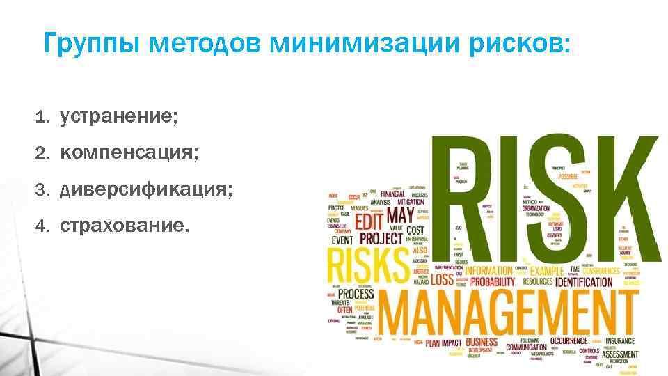 Группы методов минимизации рисков: 1. устранение; 2. компенсация; 3. диверсификация; 4. страхование.
