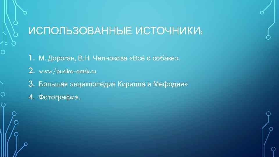 ИСПОЛЬЗОВАННЫЕ ИСТОЧНИКИ: 1. 2. 3. 4. М. Дороган, В. Н. Челнокова «Всё о собаке»