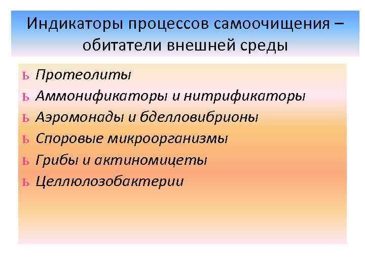 Индикаторы процессов самоочищения – обитатели внешней среды ь ь ь Протеолиты Аммонификаторы и нитрификаторы