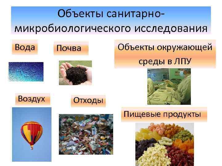 Объекты санитарномикробиологического исследования Вода Воздух Почва Объекты окружающей среды в ЛПУ Отходы Пищевые продукты