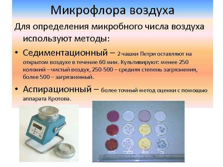 Микрофлора воздуха Для определения микробного числа воздуха используют методы: • Седиментационный – 2 чашки