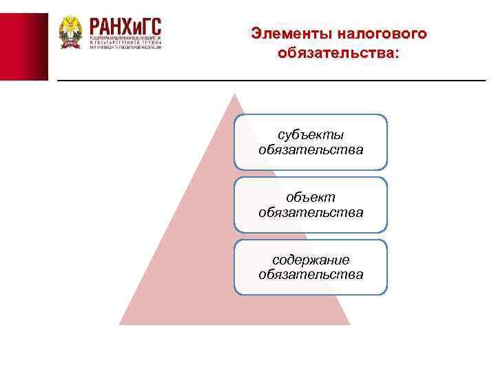 Элементы налогового обязательства: субъекты обязательства объект обязательства содержание обязательства