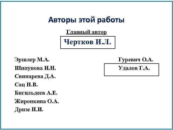 Авторы этой работы Главный автор Чертков И. Л. Эршлер М. А. Шипунова И. Н.