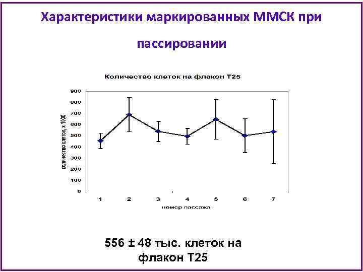 Характеристики маркированных ММСК при пассировании 556 ± 48 тыс. клеток на флакон Т 25
