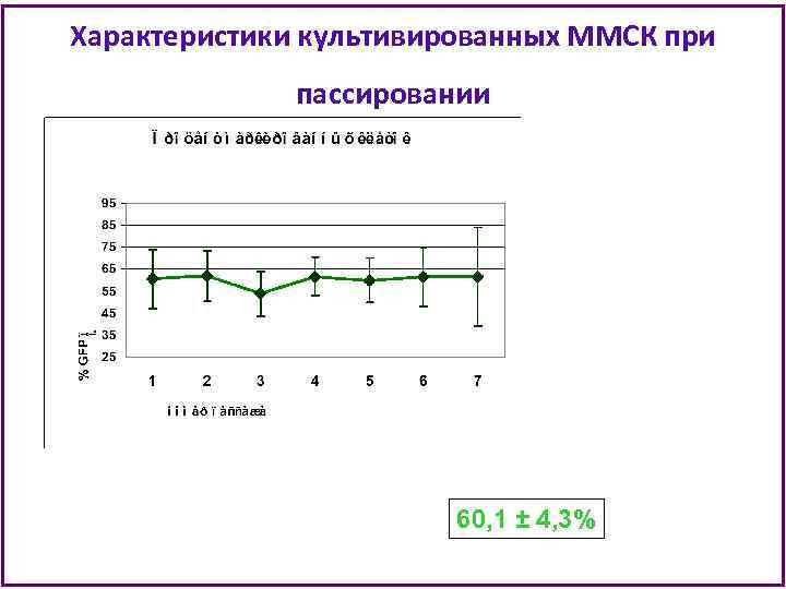 Характеристики культивированных ММСК при пассировании 60, 1 ± 4, 3%