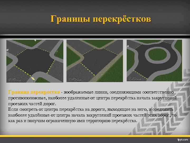 Границы перекрёстков Граница перекрестка - воображаемые линии, соединяющими соответственно противоположные, наиболее удаленные от центра