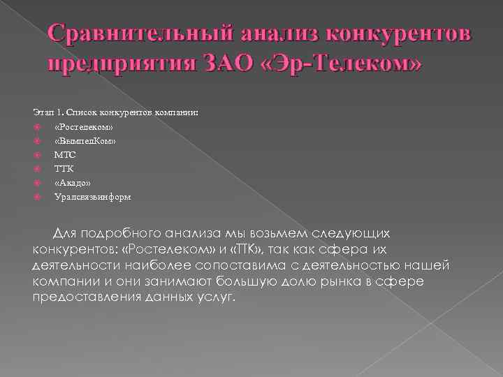 Сравнительный анализ конкурентов предприятия ЗАО «Эр-Телеком» Этап 1. Список конкурентов компании: «Ростелеком» «Вымпел. Ком»