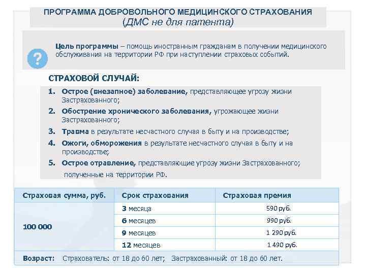 ПРОГРАММА ДОБРОВОЛЬНОГО МЕДИЦИНСКОГО СТРАХОВАНИЯ (ДМС не для патента) Цель программы – помощь иностранным гражданам