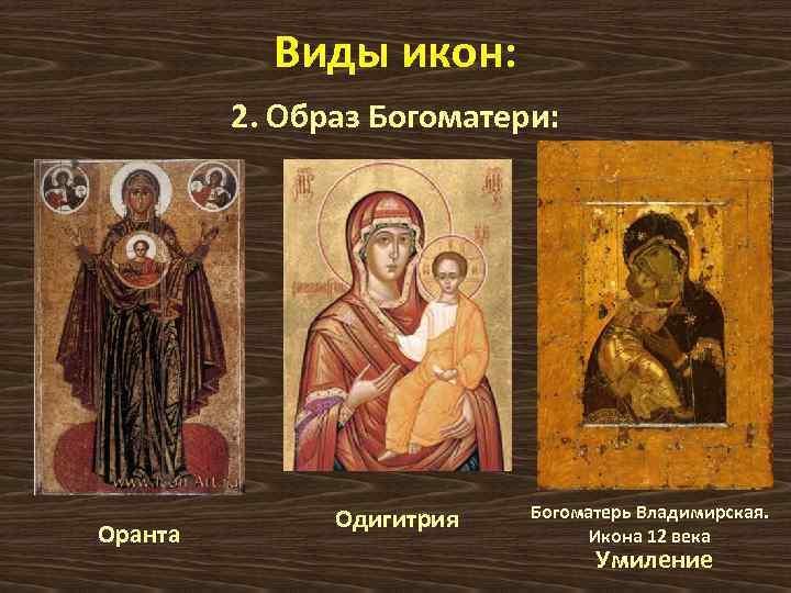 Виды икон: 2. Образ Богоматери: Оранта Одигитрия Богоматерь Владимирская. Икона 12 века Умиление