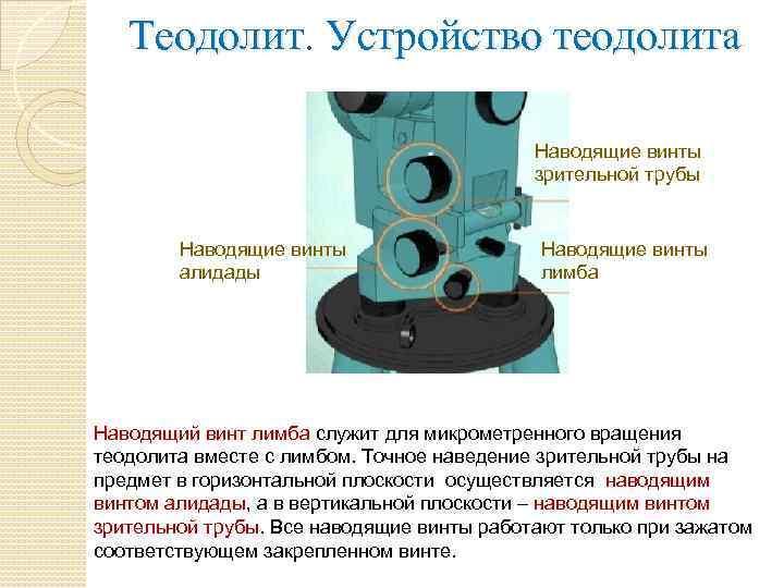 Теодолит. Устройство теодолита Наводящие винты зрительной трубы Наводящие винты алидады Наводящие винты лимба Наводящий