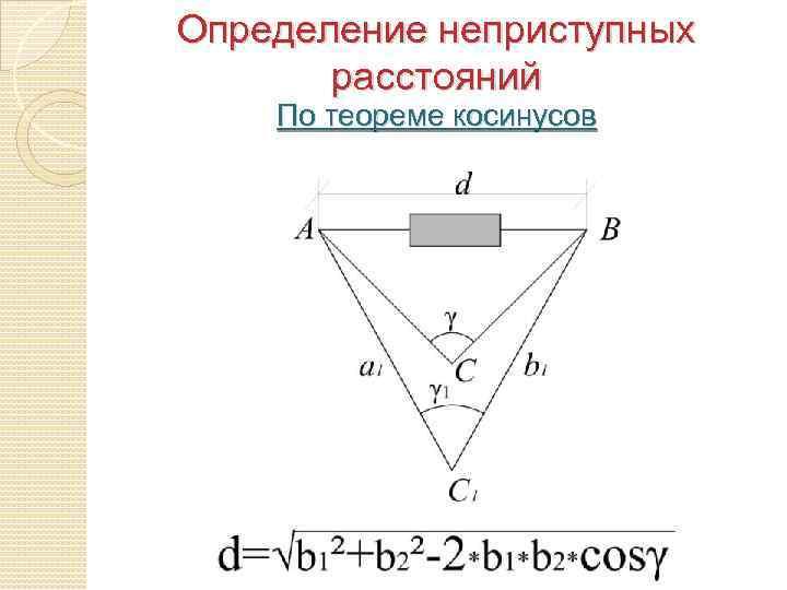 Определение неприступных расстояний По теореме косинусов