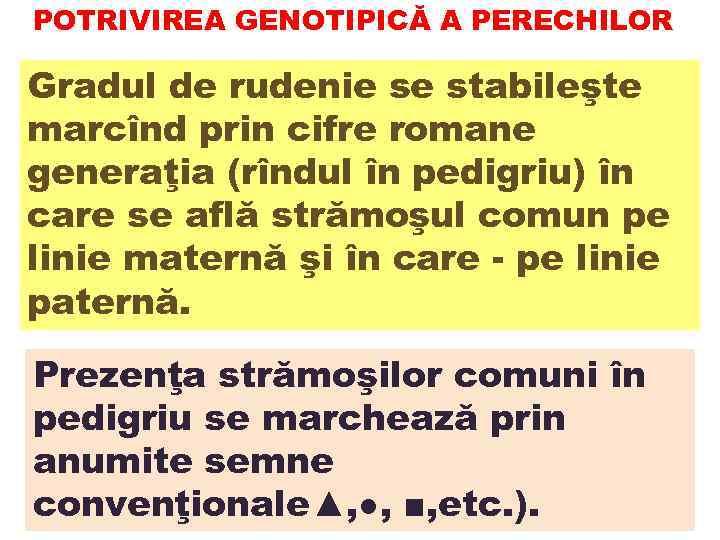 POTRIVIREA GENOTIPICĂ A PERECHILOR Gradul de rudenie se stabileşte marcînd prin cifre romane generaţia