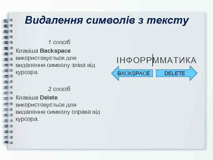 Видалення символів з тексту 1 спосіб Клавіша Backspace використовується для видалення символу зліва від