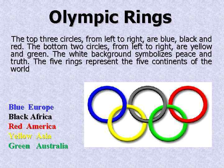 Olympic Rings The top three circles, from left to right, are blue, black and