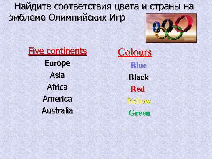 Найдите соответствия цвета и страны на эмблеме Олимпийских Игр Five continents Europe Asia