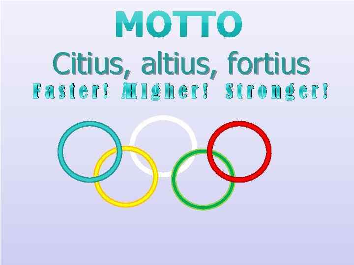 F Citius, altius, fortius a s t e r ! H I g