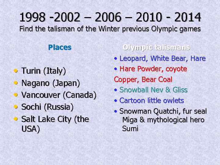 1998 -2002 – 2006 – 2010 - 2014 Find the talisman of the Winter