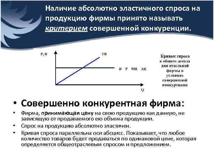 Наличие абсолютно эластичного спроса на продукцию фирмы принято называть критерием совершенной конкуренции. • Совершенно