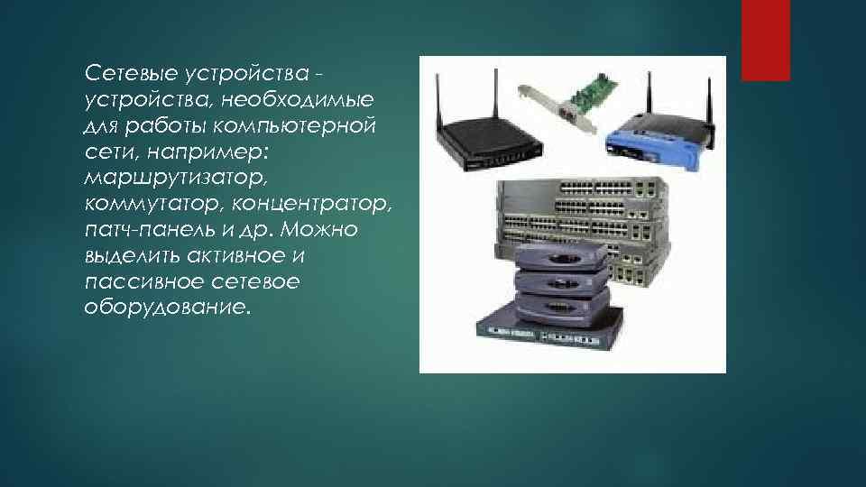 Сетевые устройства, необходимые для работы компьютерной сети, например: маршрутизатор, коммутатор, концентратор, патч-панель и др.