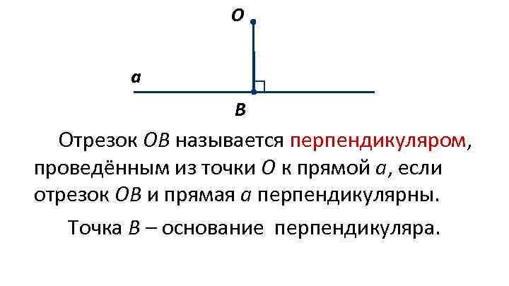 О а В Отрезок ОВ называется перпендикуляром, проведённым из точки О к прямой а,