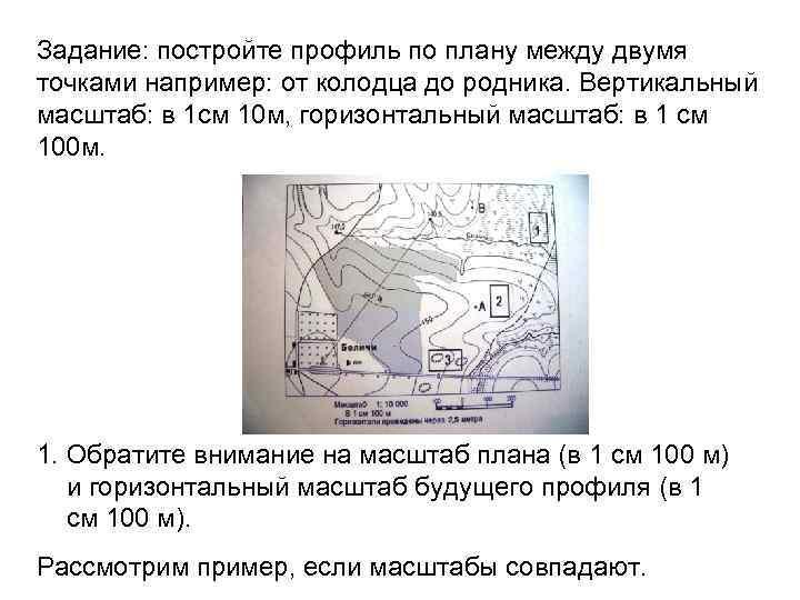 Задание: постройте профиль по плану между двумя точками например: от колодца до родника. Вертикальный